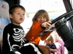 Josiah & Ava O. in the firetruck